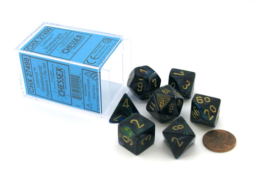 Polyhedral 7-Die Lustrous Chessex Dice Set - Shadow with Gold Numbers