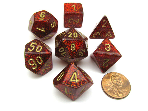 Polyhedral 7-Die Glitter Chessex Dice Set - Ruby Red with Gold Numbers