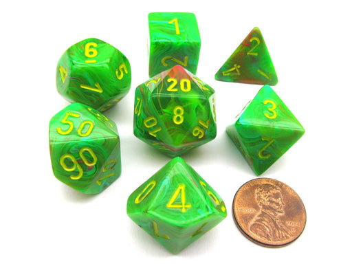 Polyhedral 7-Die Vortex Chessex Dice Set - Slime with Yellow Numbers