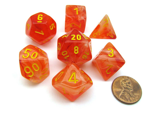 Polyhedral 7-Die Ghostly Glow Chessex Dice Set - Orange with Yellow Numbers
