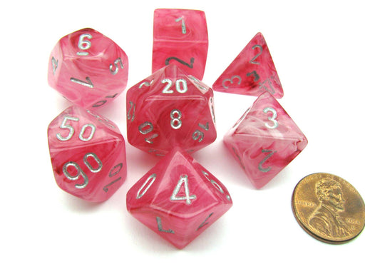 Polyhedral 7-Die Ghostly Glow Chessex Dice Set - Pink with Silver Numbers