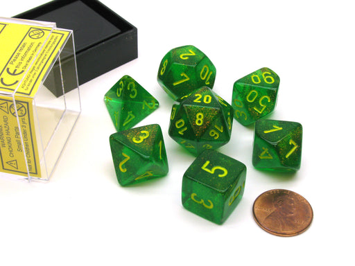 Polyhedral 7-Die Borealis Chessex Dice Set - Maple Green with Yellow Numbers
