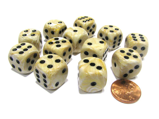 Marble 16mm D6 Chessex Dice Block (12 Dice) - Ivory with Black Pips