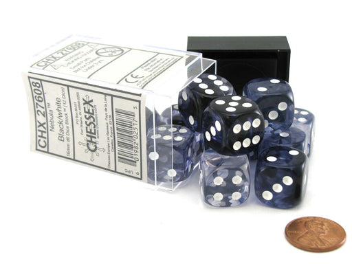 Nebula 16mm D6 Chessex Dice Block (12 Dice) - Black with White Pips