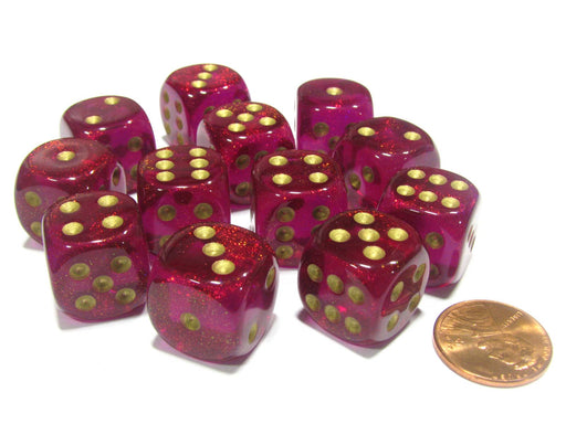 Borealis 16mm D6 Chessex Dice Block (12 Dice) - Magenta with Gold Pips