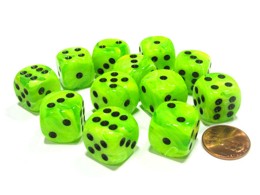 Vortex 16mm D6 Chessex Dice Block (12 Dice) - Bright Green with Black Pips