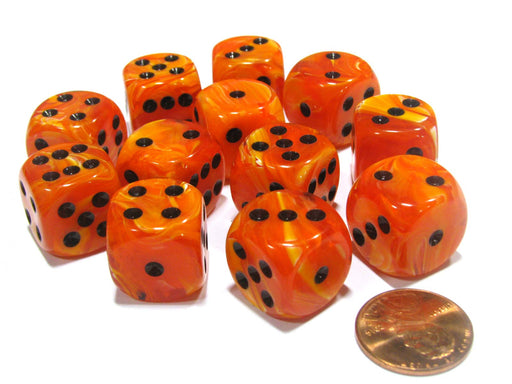 Vortex 16mm D6 Chessex Dice Block (12 Dice) - Orange with Black Pips