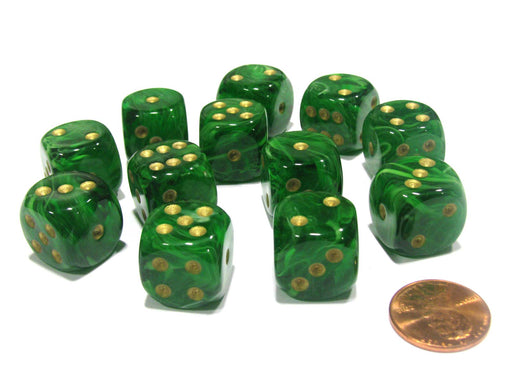 Vortex 16mm D6 Chessex Dice Block (12 Dice) - Green with Gold Pips