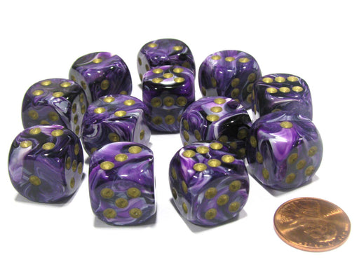 Vortex 16mm D6 Chessex Dice Block (12 Dice) - Purple with Gold Pips