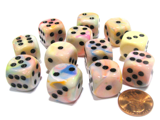 Festive 16mm D6 Chessex Dice Block (12 Dice) - Circus with Black Pips