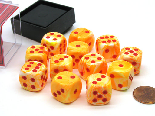 Festive 16mm D6 Chessex Dice Block (12 Die) - Sunburst with Red Pips