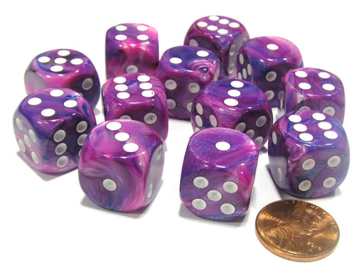Festive 16mm D6 Chessex Dice Block (12 Dice) - Violet with White Pips
