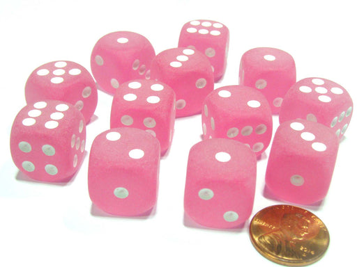 Frosted 16mm D6 Chessex Dice Block (12 Dice) - Pink with White Pips