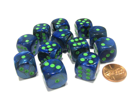 Lustrous 16mm D6 Chessex Dice Block (12 Dice) - Dark Blue with Green Pips