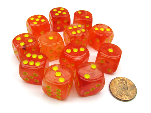 Ghostly Glow 16mm D6 Chessex Dice Block (12 Dice) - Orange with Yellow Numbers