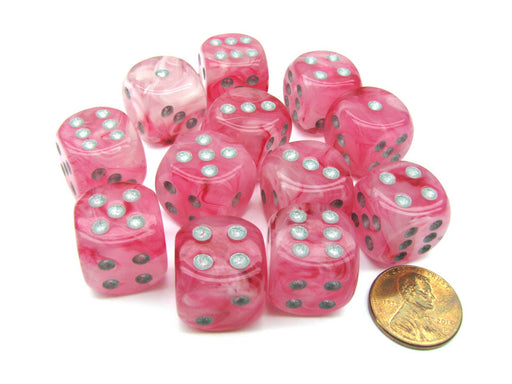 Ghostly Glow 16mm D6 Chessex Dice Block (12 Dice) - Pink with Silver Numbers