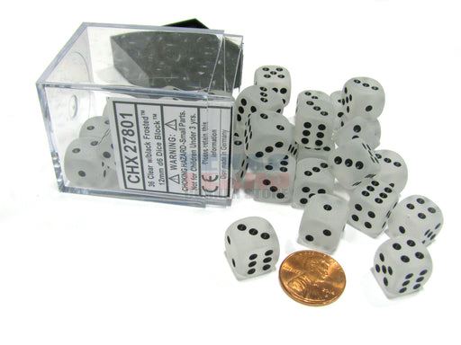 Frosted 12mm D6 Chessex Dice Block (36 Dice) - Clear with Black Pips