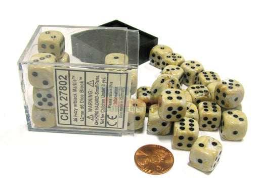 Marble 12mm D6 Chessex Dice Block (36 Dice) - Ivory with Black Pips