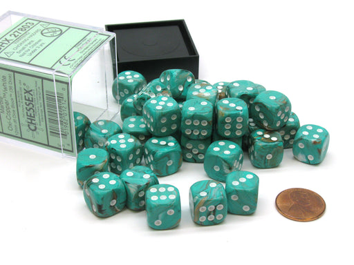 Marble 12mm D6 Chessex Dice Block (36 Dice) - Oxi-Copper with White Pips
