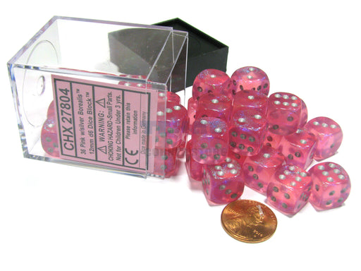 Borealis 12mm D6 Chessex Dice Block (36 Dice) - Pink with Silver Pips