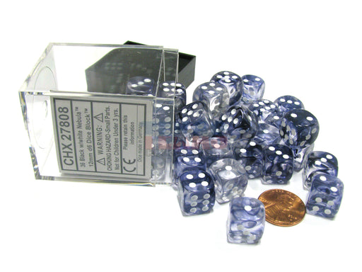 Nebula 12mm D6 Chessex Dice Block (36 Dice) - Black with White Pips