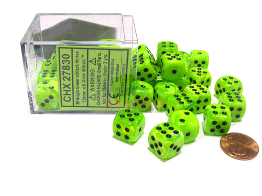 Vortex 12mm D6 Chessex Dice Block (36 Dice) - Bright Green with Black Pips