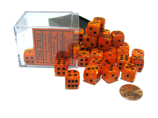 Vortex 12mm D6 Chessex Dice Block (36 Dice) - Orange with Black Pips