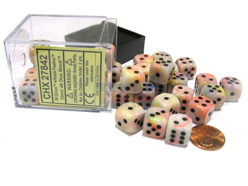 Festive 12mm D6 Chessex Dice Block (36 Dice) - Circus with Black Pips