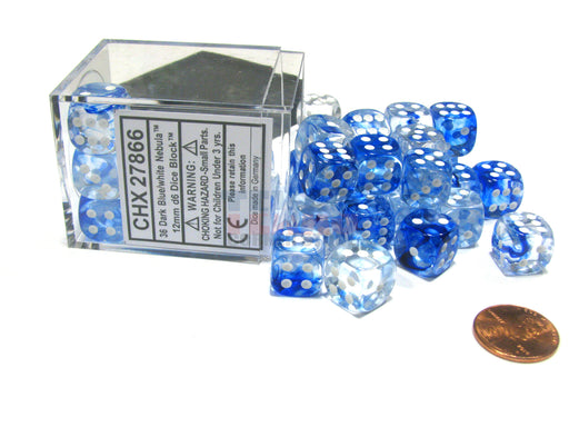 Nebula 12mm D6 Chessex Dice Block (36 Dice) - Dark Blue with White Pips