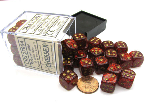 Glitter 12mm D6 Chessex Dice Block (36 Dice) -Ruby Red with Gold Pips