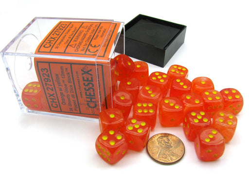 Ghostly Glow 12mm D6 Chessex Dice Block (36 Dice) -Orange with Yellow Pips
