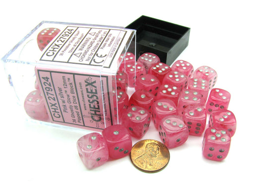 Ghostly Glow 12mm D6 Chessex Dice Block (36 Dice) - Pink with Silver Pips