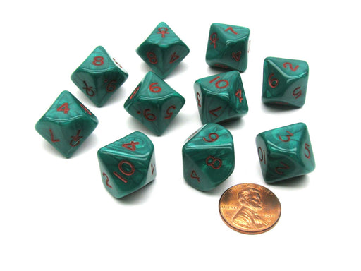 D10 Die 10 Piece Chessex Dice Set - Ankh Green with Red Pearlized Numbers