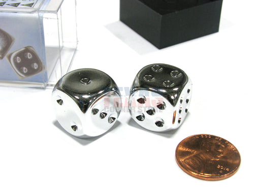 Pair of Silver Colored Metallic-Looking Chessex Dice