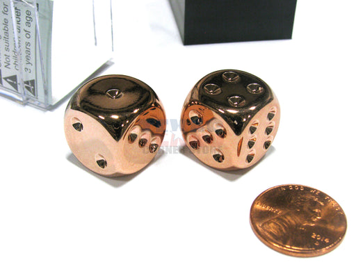 Pair of Copper Colored Metallic-Looking Chessex Dice