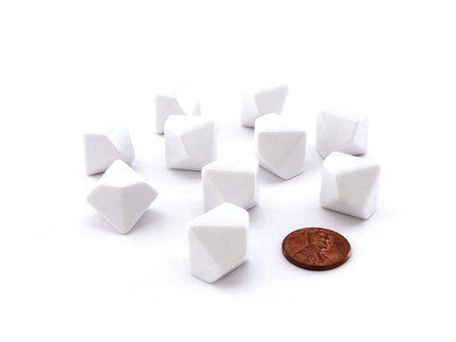 Set of 10 Opaque 10-Sided D10 White 16mm Blank Dice