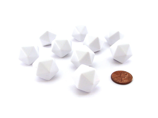 Set of 10 Opaque 20-Sided D20 White 20mm Blank Dice