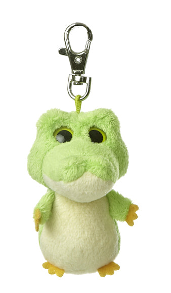 "3"" Smilee Green Alligator Clip-On Keyclip Small Soft Plush Keychain"