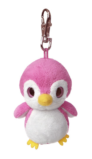 "3"" Kookee - Pink Penguin Clip-On Keyclip Small Soft Plush Keychain"