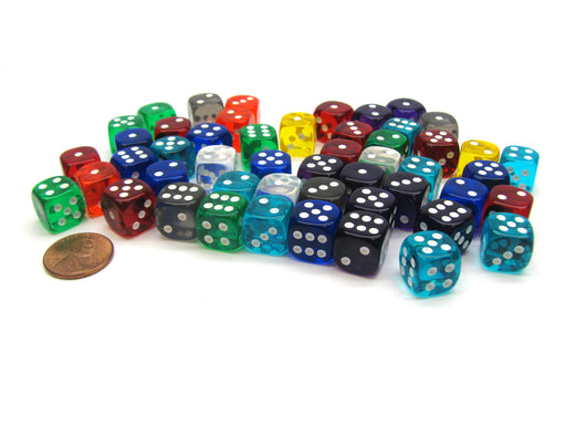Bag of 50 Assorted Loose Translucent 12mm D6 Dice