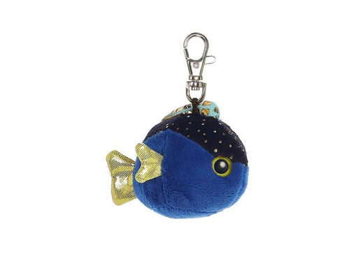 "3"" Tangee Blue Fish Clip-On Keyclip Small Soft Plush Keychain"