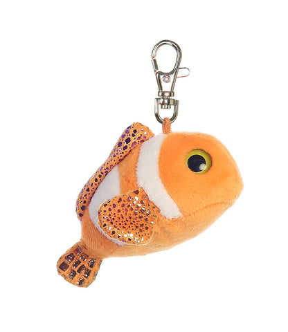 "3"" Clownee Orange Clown Fish Clip-On Keyclip Small Soft Plush Keychain"