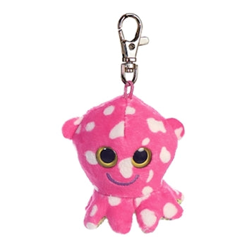 "3"" Olee Octopus Clip-On Keyclip Small Soft Plush Keychain"