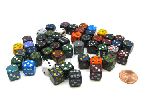 Bag Of 50 Assorted Loose Speckled 12mm D6 Chessex Dice with Pips