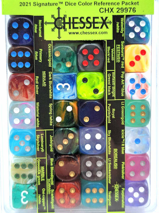 Chessex 2021 Signature Dice Color Reference Packet - 26 D6 16mm Dice