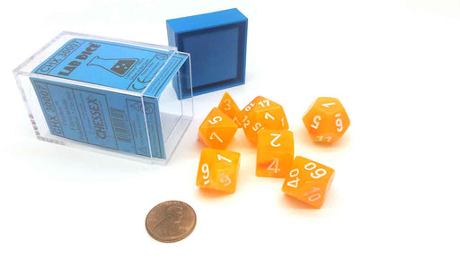 Polyhedral 7-Die Festive Lab Dice Chessex Dice Set -  Flare with White Numbers