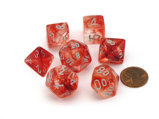 Polyhedral 7-Die Nebula Lab Dice 2 Chessex Dice with Luminary - Red with Silver
