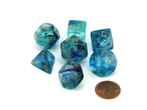 Polyhedral 7-Die Nebula Lab Dice 2 Chessex Dice with Luminary- Oceanic with Gold