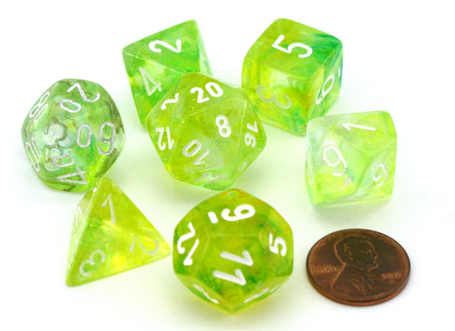 Polyhedral 7-Die Nebula Lab Dice 2 Chessex Dice with Luminary- Spring with White