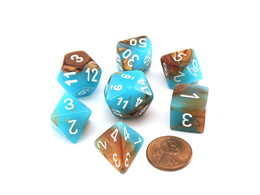 Polyhedral 7-Die Gemini Chessex Lab Dice 3 Set with Luminary - Copper-Turquoise